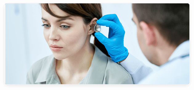 routine hearing check on a lady